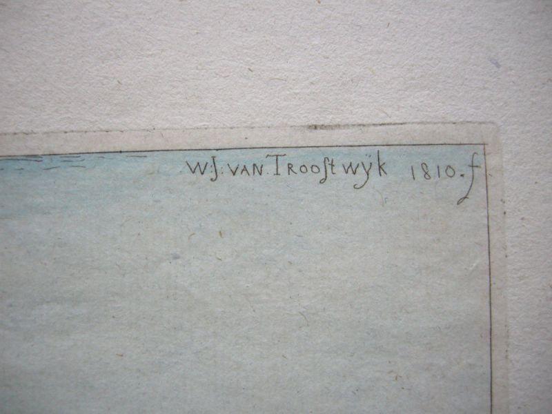 W. J. van Troostwyk (1782-1810) Melkende Bäuerin kolor Orig Kupferstich 1810