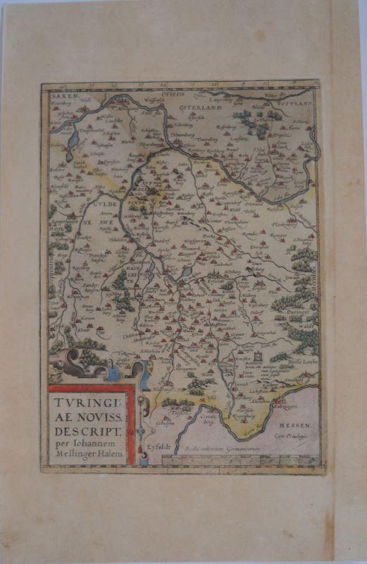 Thüringen kolorierte Kupferstichkarte Ortelius 1580