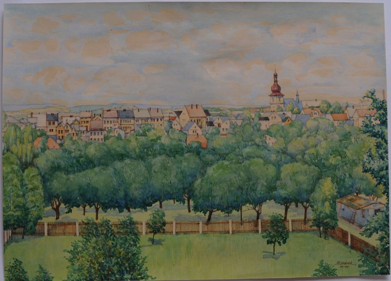 Ansicht Stadt in Tschechien (?) Orig. Aquarell sign. Jiranek 1947