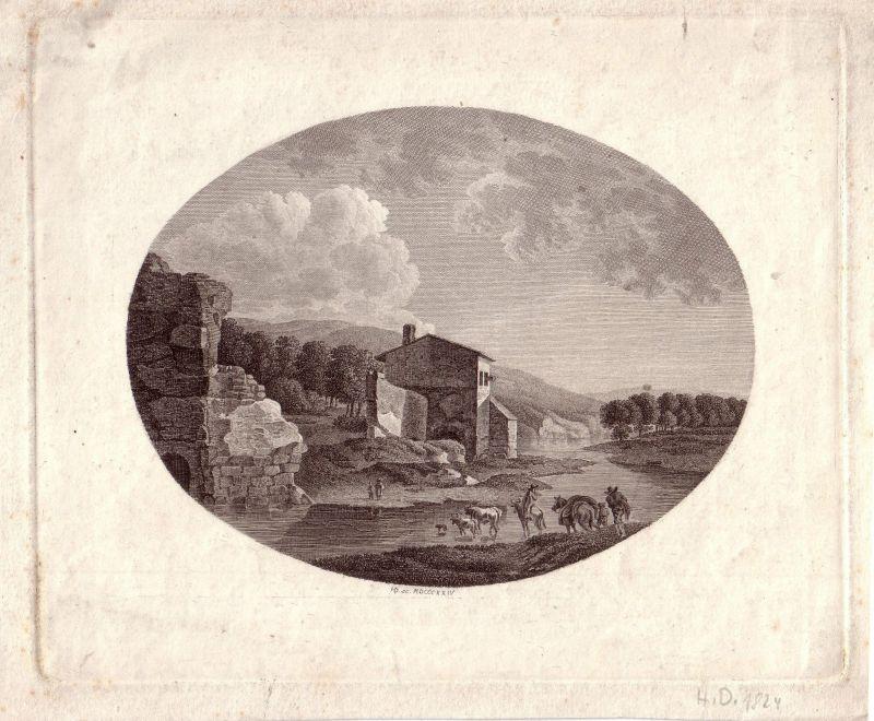 Kühe an der Tränke in Ideallandschaft Ruinen Monogr H. D. 1824 Kupferstich
