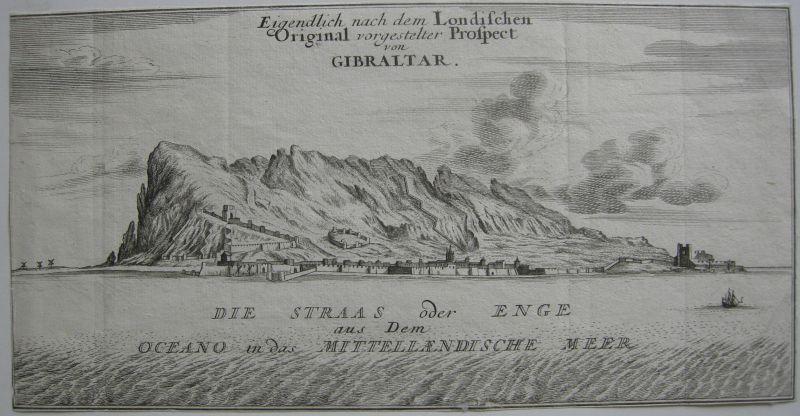 Gibraltar España England Kupferstich Bodenehr 1720 Grabado de cobre