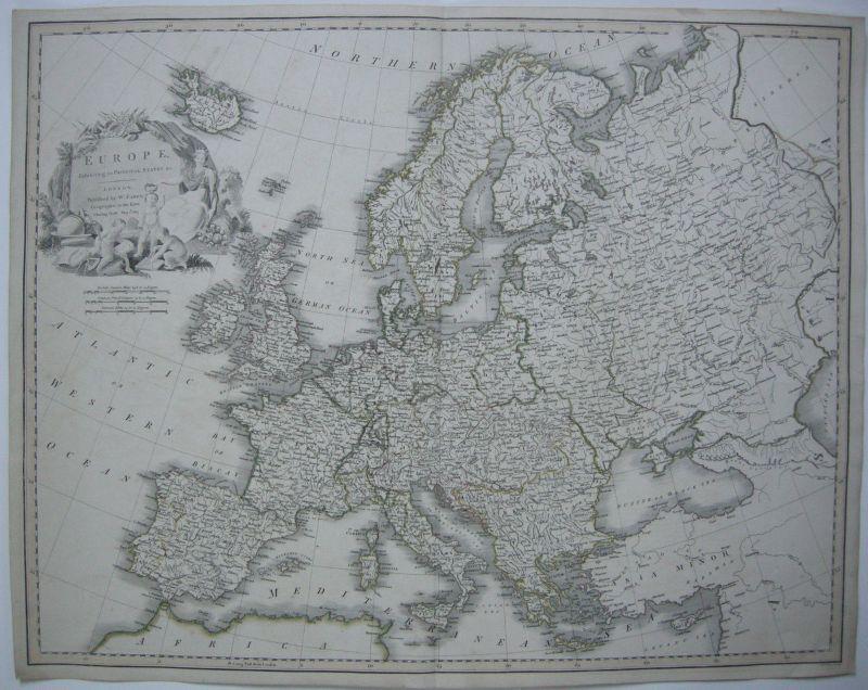 Europa Kontinentkarte W. Faden 1817 kolor Kupferstichkarte Copperplate map