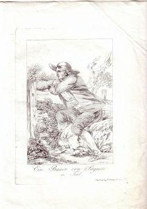 Bauer von Sagran in Tirol Orig  Radierung v. J. Laminit 1800
