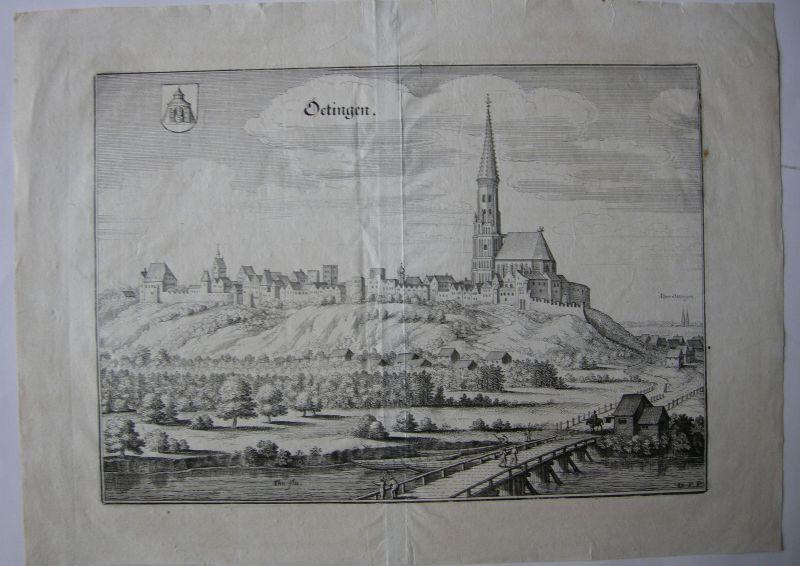 Neuötting Oberbayern Orig Kupferstich Merian 1644 Gesamtansicht