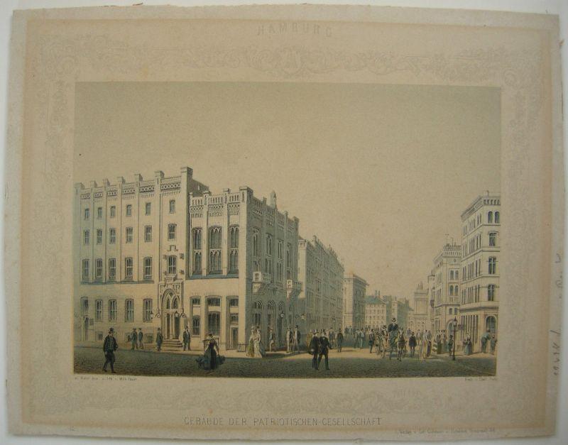 Hamburg Gebäude Partiotischen Gesellschaft Lithographie von Heuer 1840