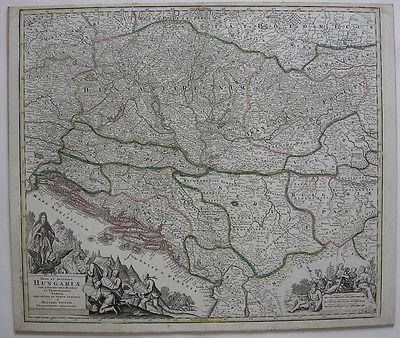 Ungarn altkolor Orig Kupferstichkarte Matth Seutter 1740 Magyarország Balkan