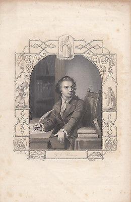 Portrait G. E. Lessing als junger Mann Orig Stahlstich 1860 Payne