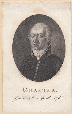 Friedrich David Graeter Nordistik-Begründer Orig Kupferstich 1800 Lips