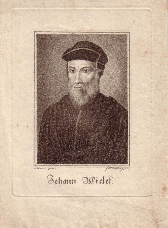 Johann Wiclef Reformator Punktierstich von Nettling nach Schnorr 1750