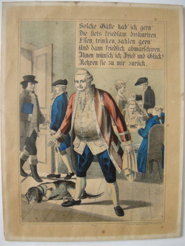 Bilderbogen Weissenburg Gastronomie Farlblithographie 1880  Nr. 758 Imagerie pop