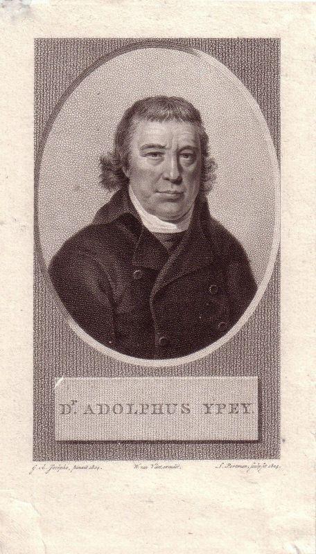 Adolphus YPEY niederländischer Botaniker Philosoph Portrait Kupferstich 1804