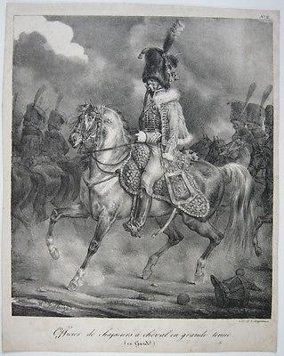 G. Engelmann (1788-1839) Gardeoffizier im Ornat Orig Lithografie 1830 Bellangé