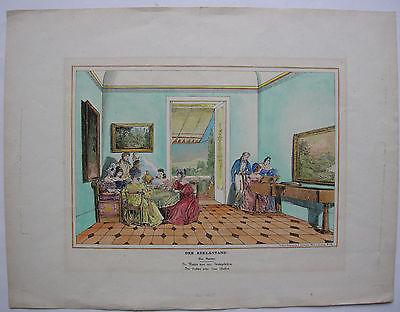 Der Adelsstand Genredarstellung kolor Orig Lithographie Wien 1835