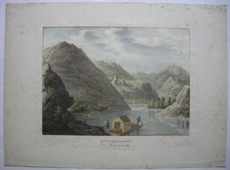 Teufelsmauer Niederösterreich Orig Farblithographie Kunike 1824 Donau Dürnstein