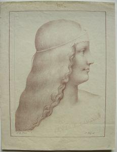 Ferdinand Piloty (1786-1844) Portrait einer Dame Orig. Lithografie nach da Vinci