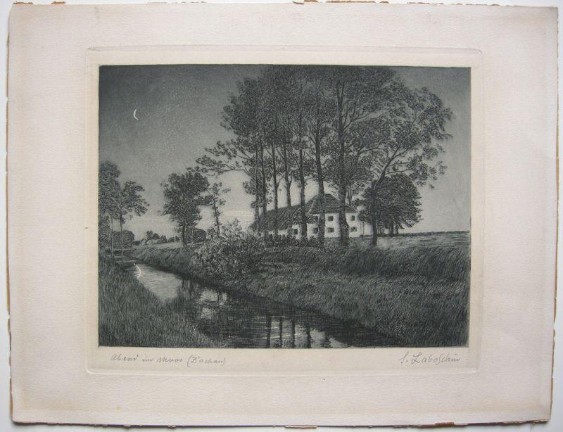 Siegfried Laboschin (1868-1929) Abend im Dachauer Moos Orig Radierung signiert