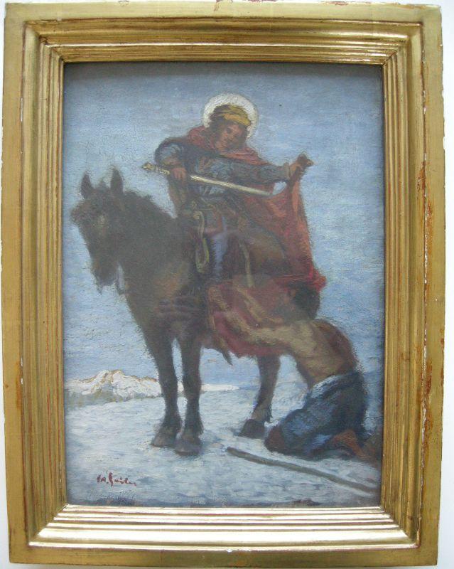 Josef Andreas Sailer (1872-1952) St Martin teilt seinen Mantel Öl auf Holz sign