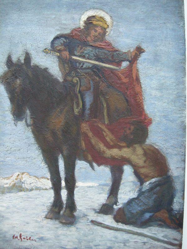 Josef Andreas Sailer (1872-1952) St Martin teilt seinen Mantel Öl auf Holz sign 1