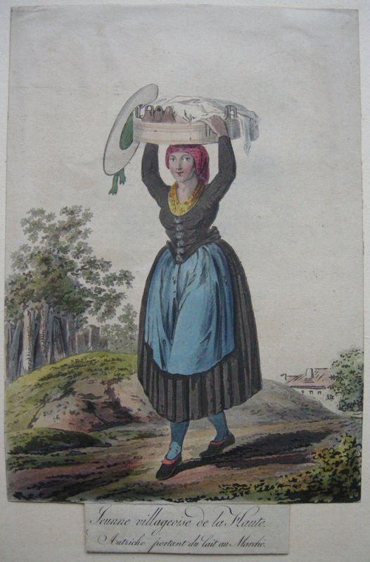 Oberösterreich Milchmädchen Orig Farblithografie um 1850 Trachten Kostüme