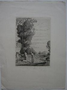 Hans Flüggen (1875-1942) Weibliche Akte in Landschaft Orig Radierung signiert