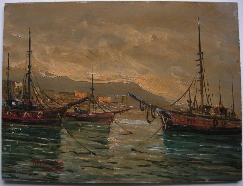 Schiffe im Hafen Italien Italia Öl auf Platte signiert R. Maretta um 1900