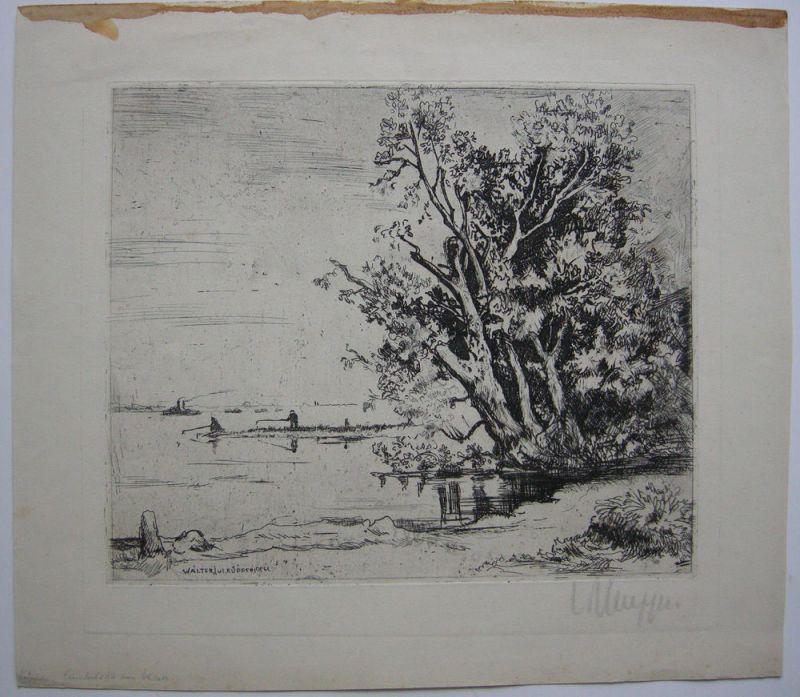 Walter J. Küpper (1905-1966) Landschaft am See Orig Kupferstich signiert 1950
