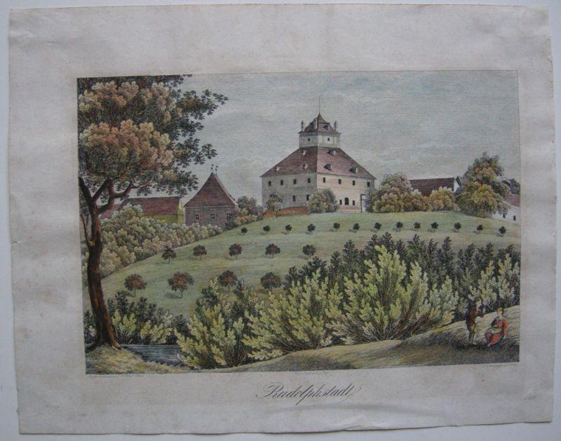 Rudolfov Rudolphstadt Böhmen Tschechien Kolor Orig Kupferstich 1840 Medau