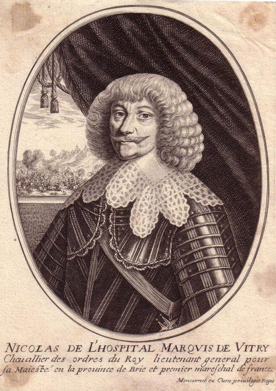 Marechal de Vitry französischer Offizier  Portrait Kupferstich 1750