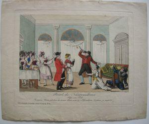 Theaterszene Reserl Nachtwandlerin Posse Told kolor Orig Kupferstich 1830 Wien