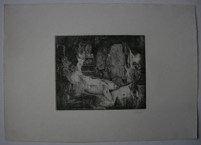 Udo Scheel (1940) Abstrakte Landschaft Orig Radierung 1972 signiert