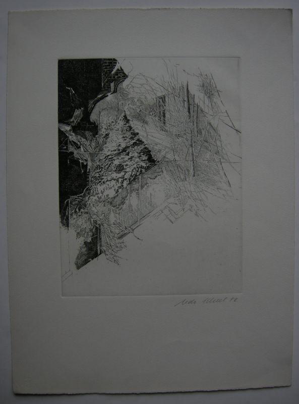 Udo Scheel (1940) Abstrakte Architektur Orig Radierung 1972 signiert