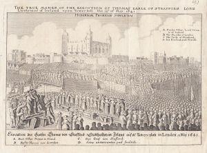 Exekution Thomas von Strafford Irland 1641 Orig Kupferstich 1820 Tower London