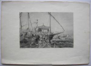 Kos Embros Griechenland Seeschlacht Türkenkrieg 1346 Stahlstich 1850 Rhodos