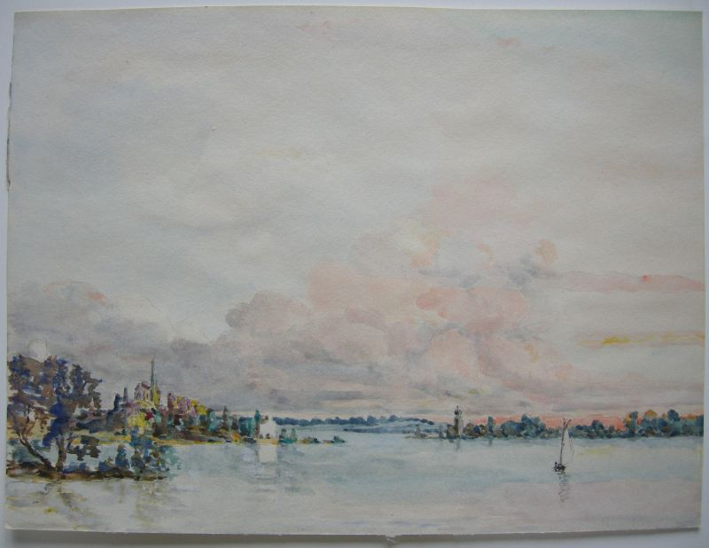 Bodensee  Aquarell  W. Siecke Reichenau (?) ca. 1950