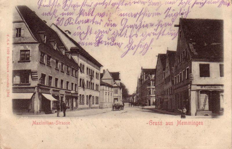 AK Memmingen Maximilianstraße gel 1910 Bayerisch Schwaben Allgäu