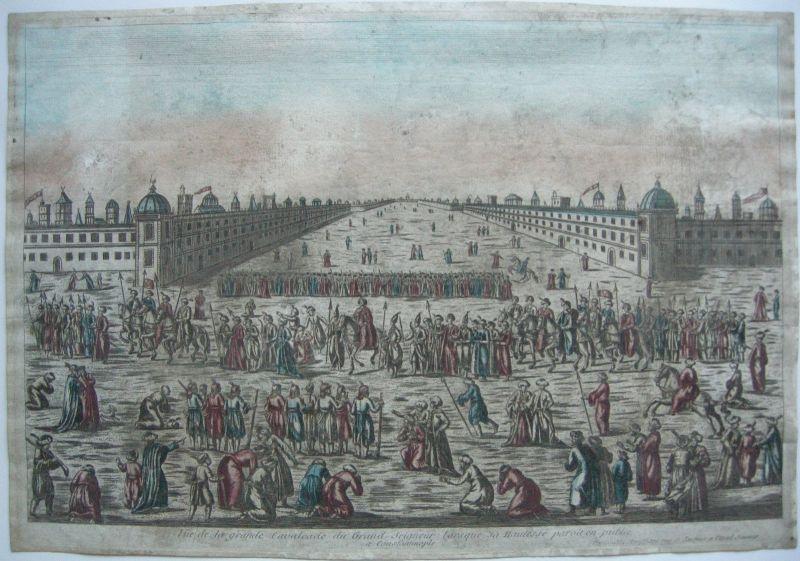 Vue d'optique Guckkastenbild Cavalcade Istambul Türkei Kupferstich 1750