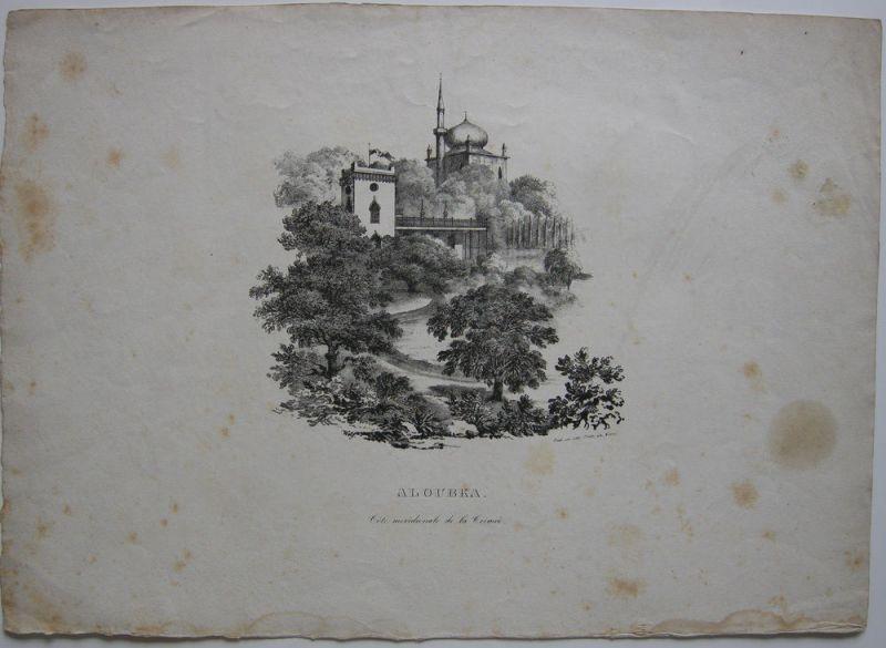 Alubka Krim Russland Südküste Orig Lithografie 1830 Moschee
