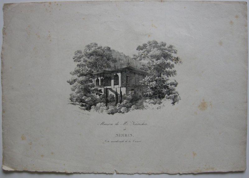 Simejis Krim Russland Haus Nariskin Südküste Orig Lithografie 1830 Haus Nariskin