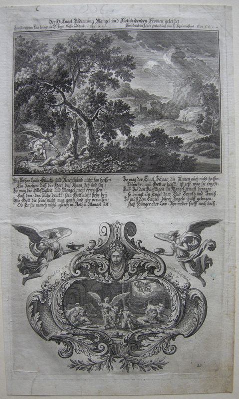 Johann U. Krauss (1655-1719) Engel versorgt Elia Bibel Orig Kupferstich 1698