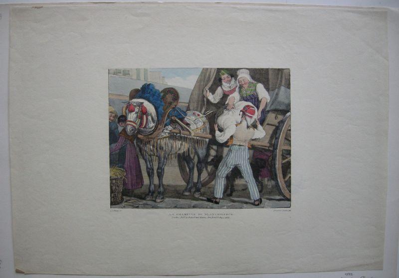 Chalon Charette du Blanchisseur Costume Paris Orig Farblithografie 1822