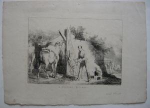 A Military Kitchen Eine Kriegsküche Orig Lithografie Vernet 1822 Ackermann