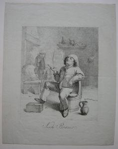 Joseph Hauber 1766-1834 Pfeiferauchender Bauer Inkunabel Lithografie 1806