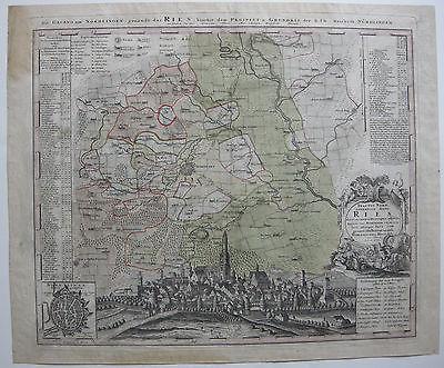 Nördlingen Ries kolor Orig Kupferstichkarte Homann 1720 Ansicht dekorativ
