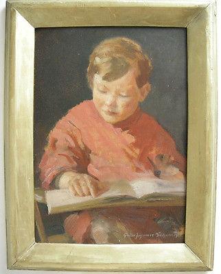 Gustav Joh Buchner (1880-1950) Lesender Junge Öl auf Platte signiert 1931 Rahmen