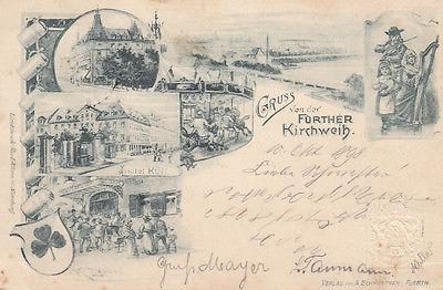 AK Fürth Fürther Kirchweih Litho Wappen Mittelfranken gel 1898