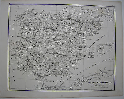 España Spanien Portugal mapa  Stahlstichkarte 1850 Grabado de acero Baleares