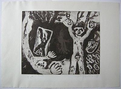 Klaus Fußmann (1938)  Figuren Orig Radierung 1981 signiert Probedruck