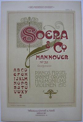 Soera Hannover Pianos Flügel Orig Lithografie F. Schweinmanns Jugendstil 1900