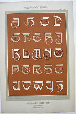 Schriftenvorlage Schriften Orig Lithografie F. Schweinmanns Jugendstil 1900