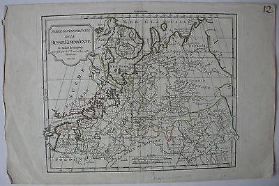 Europäisches Russland Nördlicher Teil kolor Orig Kupferstich Vaugondy 1795